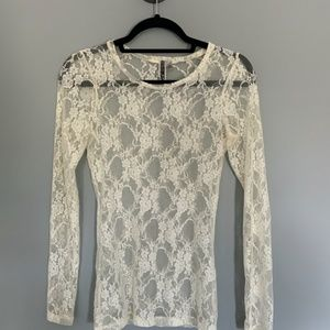 BKE Boutique Sheer Long Sleeve Lace Top